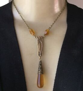 Vintage Necklace Antique Art Nouveau Amber Czech Glass Pendant & Beads Refastene