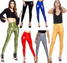 Womens Ladies Black PU High Waisted Vinyl Skinny Shiny Wet Look Trousers UK 8-14