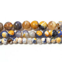DIY Stone Orange Blue Fire Agates Round Loose Spacer Bead for jewelry making hot