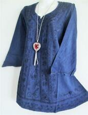 GYPSY BOHO DARK BLUE  EMBROIDERED MEDIEVAL TUNIC TOP  12 14 16   106 CM   BUST