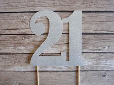 21 Silver Glitter Cake Topper - Twenty One 21st Birthday Cake, Party Decorations