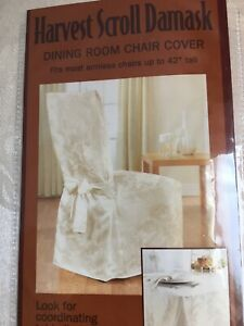 Classic Dining Chair Cover~Beige DAMASK Matelasse Upholster Tie Back