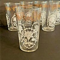 Vintage Federal Glass mid century tumblers glasses set of 6 clear white & gold