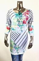 CHICO'S  $75 NEW ZENERGY MULTI ABSTRACT FLORAL 3/4-SLV TUNIC TOP SIZE 3 ( XL )