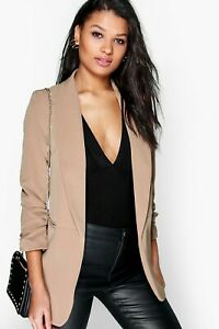 Boohoo Ruched 3/4 Sleeve Blazer Camel Brown Beige Coat Jacket Collared Size 6