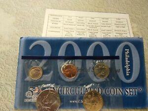 2000 P Uncirculated Mint 10 coin Set Env & COA