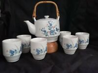 Vintage OMC Japanese TEA SET w/TEAPOT & 6 CUPS -New with Tags 7 x 7 1/2 inches