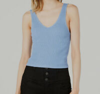 New $160 Project 28 Womens Blue Ribbed V-Neck Sleeveless Cropped Tank Top Size L