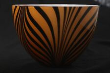 Tiger Stripe Art Glass Serving Bowl~Made in Poland~Salad Bowl or Center Piece