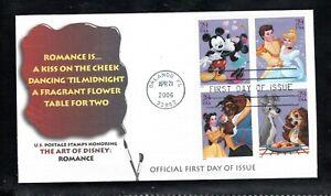 2006 Sc #4025-28 39¢ The Art of Disney - Romance Fleetwood cachet FDC