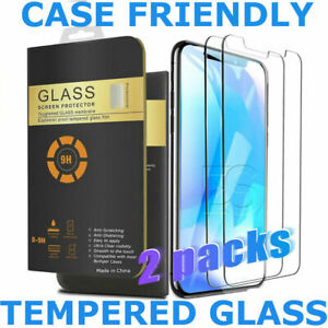 iPhone Tempered Glass Screen Protector 2 Pack for Apple 6 7 8 Plus X Max XR 11