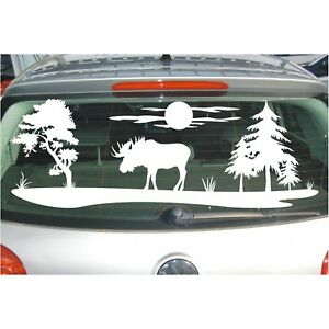 Aufkleber Landschaft  Bäume Feld Wiese Hirsch Elch Schweden Sonne Baum Sticker