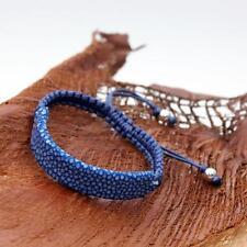 JJJ LA (La Plata) Rochenleder Armband blau 925er Silber Shamballa Wachsband