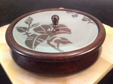 "Vintage Solid Wood Hand Turned Bowl, Etched Morning Glory Glass Lid 6.5"" Dia."