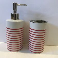 Kate Spade Toothbrush Holder & Lotion pump, red & white Striped Porcelain