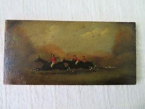 ANTIQUE 19THC SMALL OIL ON WOOD HUNTING SCENE, ITALIAN ARTIST SALETTI 4 OF 4