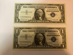 TWO 1957 B NOTE ($1) ONE DOLLAR SILVER CERTIFICATE BLUE SEAL UNCIRCULATED