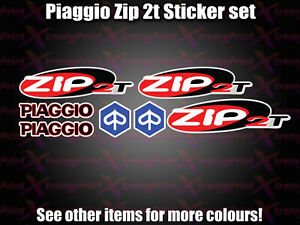 Piaggio ZIP 2t Sticker Decal set 50 70 100 125 Scooter Moped red