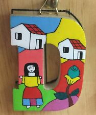 La Palma Folk Art from El Salvador Letter D Handcrafted on Recycled Wood