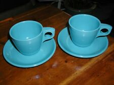 2 sets Boonton Dinnerware Cup & Saucer Vintage Melamine Melmac Blue Clean Bright