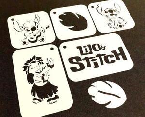 Set of 5pcs DISNEY Style LILO and STITCH Reusable Mylar Stencils Text Leaf Paint