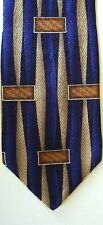 "Henry Grethel Men's Silk Geometric Neck Tie Blue Dk Beige Brown 3 7/8""x 57"""