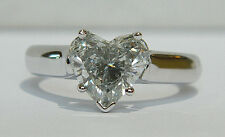 1.85 Carat Heart Shape DIAMOND Engagement Ring in 14K White Gold