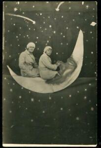 RPPC Vtg 1930s Studio Moon Prop Mother/Daughter in Winter Stocking Caps