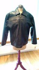 Leather black motorcycle biker jacket, bomber style. Women's.Size 14.