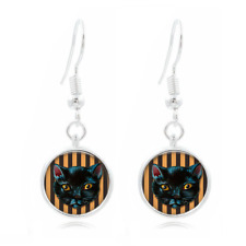 Black Cat Spooky Glass Dome Earrings Art Photo Tibet silver Earring Jewelry #60