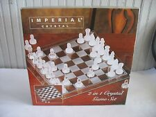 NIB Imperial Crystal 2 in 1 Frosted Clear Crystal Chess Checkers Game Set