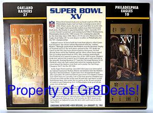 SUPER BOWL 15 ~ RAIDERS vs EAGLES ~ NFL 22 KT GOLD SB XV TICKET Willabee & Ward