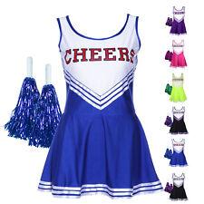 High School Cheer Girl Uniform Football Match Cheerleader Fancy Dress w/ Pom Pom