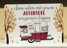 Happy Camper Metal Sign - Camping Decor -Camping Quote Sign - Vintage Red Camper