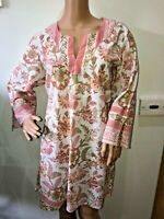 Anokhi pretty pink floral cotton summer tunic dress beaded size L 14