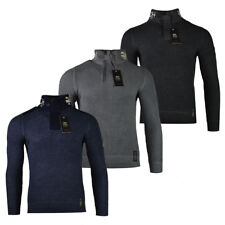 Mens Crosshatch Knitted Funnel Neck Zip Up Sweater Jumper