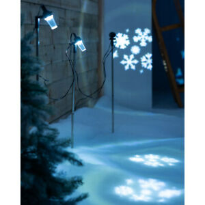 Christmas Snowflake Pathway Projector Bright White LED Lights Set of 3 72 cm