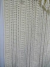 """Beautiful Vintage Off White Ivory Afghan Open Weave 68""""x45"""" Approx Incl Fringes"""