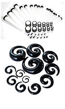 48pc Starter White Ear Stretching Kit Set 00G-14G Tapers Plugs Spirals gauges