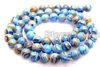 8mm Blue Peacock Zebra Stripe Round Agate Beads for Jewelry Making Strands 15""