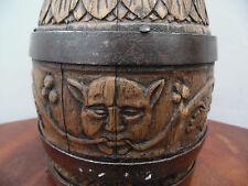 Art Populaire Normandie: Ancien Pichet à Cidre bois sculpté monoxyle 18éme