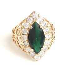 Vintage 3 Ct Green Emerald Diamond Ring Wedding Women Girl Jewelry Gift Sizable