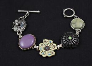 Lucky Brand Bracelet Flower Motif Semi-Precious Stones Enamel Mauve