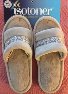 ISOTONER Women's Jenna Sand Beige Microterry Slippers Slides Ribbon Accent