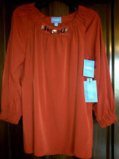 New! Womens Simply Vera Wang Red Rust Jewel Charmeuse Top Shirt Size Small