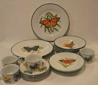 20 Pieces National Wildlife Federation Butterfly China Set Service for 4