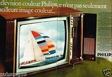 E- Publicité advertising 1970 (2 pages) Téléviseur télévision couleur Philips
