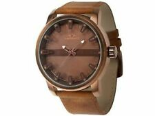 NEW Tavan 9894 Mens Haven Collection Brown Dial Textured Tan Leather Band Watch