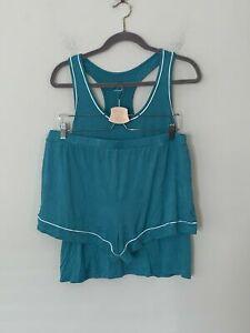 NWT! Alfani Women's Sz L Tank & Boxer Shorts 2pcs Pajama Set Wash Teal