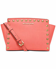 Michael Kors MK Selma Stud Studded Saffiano leather Messenger crossbody Bag Pink